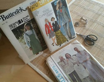 Butterick 70s S-10 Lot of Vintage Patterns Simplicity 5212 and McCall's 4473
