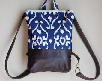 Spring/Summer/Fall Fabric & Leather Backpack • Small Day Pack • Lightweight Daypack • Ikat Blue Brown Cream