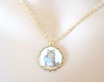 Little Cat Necklace, Tom Kitten Necklace, Beatrix Potter, Vintage Inspired, Gift for Girl, Gift Necklace