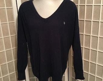 Vintage Navy Christian Dior Men's Sweater Medium 1970s