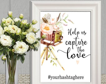Wedding hashtag sign Printable Help us capture the love Instagram sign Hashtag wedding sign Social media sign Retro camera Blush flowers