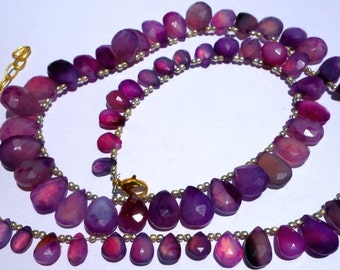 100% Natuaral Purple ChalcedonyFaceted AlmondFashion jewelry Necklace/ funky Jewelry@DSC05616