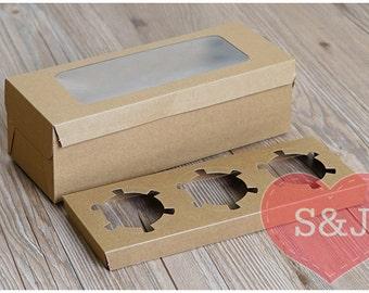 10x 3 Holder - Kraft Brown Cupcake/Cake/Muffin cardboard Boxes