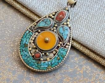 Large Tibetan Turquoise Inlay Pendant,Teardrop Turquoise Pendant, Tibetan Pendant, Tibetan Jewelry, Nepal Jewelry, Statement,One,KK17-0112A