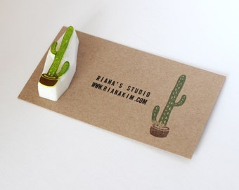 Cactus rubber stamp. Hand carved rubber stamp. Cactus pot stamp. Plants stamp. Handmade stamp.