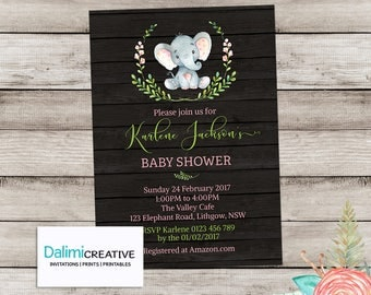 Baby Shower Invitation - Elephant Baby Shower Invitation - Shower Invitation - Printable Invitation - Personalised - Digital File!