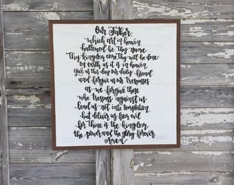 The Lord's Prayer wood sign 2.5ft x 2.5ft // hand lettered and hand painted distressed wood sign // rustic home decor