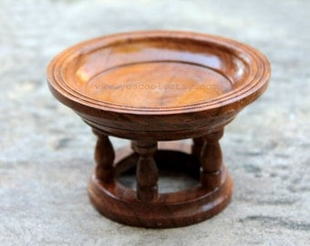 Small Wooden Tray with Pedestal Teak Wood