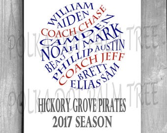 Customized DIY Printable Player Names Baseball Softball T-Ball Gift End Of The Season Gift Personalized Coaches Gift Sports Gift