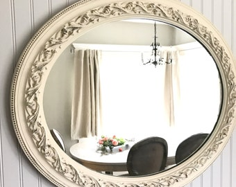 Large Antique Mirror, Shabby Chic Mirror, Distressed Mirror, Bathroom Mirror, French Country Mirror, Large Wall Hanging, Vintage Mirror