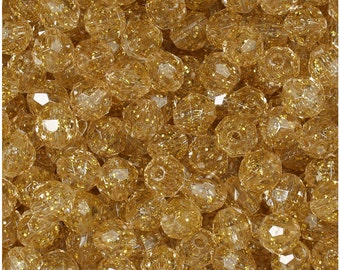 BeadTin Gold Sparkle 8mm Faceted Round Plastic Craft Beads (450pcs)