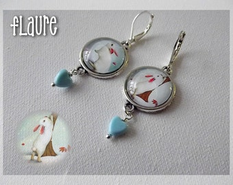 "Earrings cabochons ""rabbit in winter"""