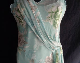 Vintage dress chiffon pale turquoise blue lined