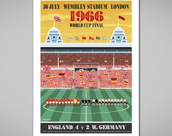 WEMBLEY 1966 World Cup Football Final England v W Germany Art Print,Football Poster,Football Gift,Retro Style Art,England Football History