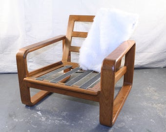 Solid Teak Arm Chair, Danish, Modern, 1970s Lines