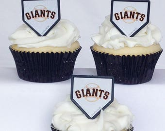 12 San Francisco Giants Cupcake Rings MLB Baseball Toppers Party Favors