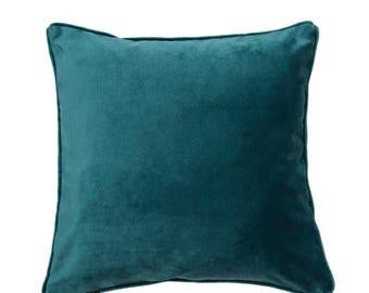 McAlister Textiles Luxury Piped Plain Matt Velvet Cushions, Pillows & Covers - 43cm, 49cm, 60cm, 40cm, 50cm w/ Fillers - Teal