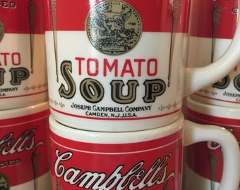 Iconic Campbell's tomato soup mugs sold individually Andy Warhol pop art