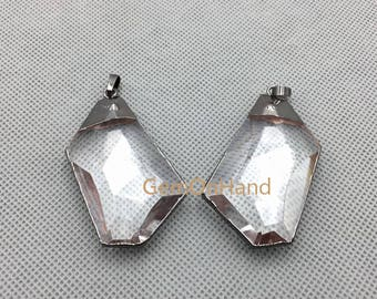 PM4665 Exclusive Randomly Crystal Quartz Pendant,Gun Black Electroplated Edge Quartz Bail Pendant,Faceted Crystal Pendant