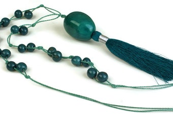Tassel Necklace, Pendant Necklace, Teal Blue, Tagua Necklace,  Beaded Acai Necklace, Bohemian Necklace, Long Boho Necklace, Eco Necklace