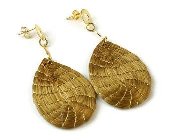 Handmade Drop Golden Grass Earrings, Handwoven, Fiber Earrings, Organic Earrings, Nature Earrings, Natural Fiber Earrings