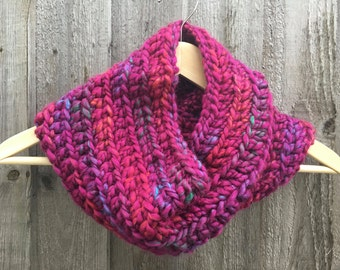 Chunky Crochet Cowl / Snood in Bouquet (hot pink mix)