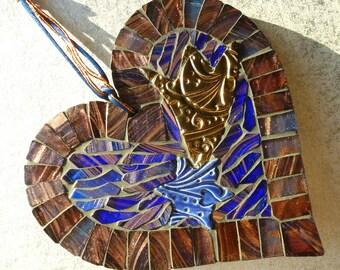 Shooting star mosaic, ceramic star heart, shooting star art, mosaic heart gift, handmade star heart, ceramic blue star, star gift heart art