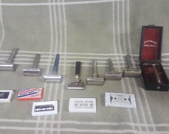 Vintage Shaving Lot.  Safety Razors. Blades. Instant Collection. Gillette. Razor. Ever-Ready. Adjustable.