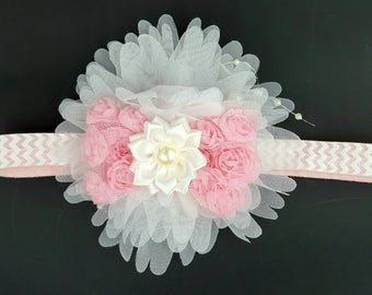 Girls pink and white flower bow  chevron headband with pearls