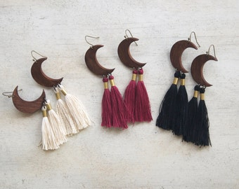 Crescent Moon Earrings, Wood Pendant Tassel Earrings, Black, Maroon or Natural Tassel, Custom Option