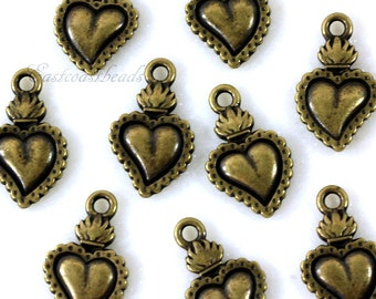 TierraCast Charms, Heart Milagro Charms, Heart Charms, Burning Heart Charms, Antiqued Brass, Flaiming Hearts, 4 Or More Pieces, 2227