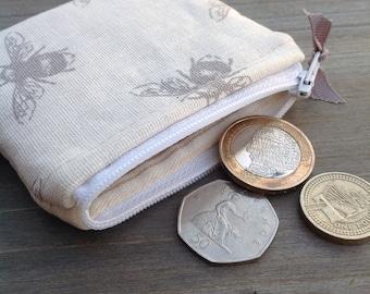 Bumble bee linen fabric coin money purse