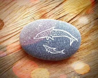 Dolphin Mother + Calf Painted Pebble - Hand Painted Whale Art Totem Sea Beach Decoration Stone - MADE TO ORDER