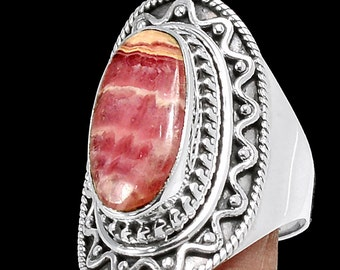Rhodochrosite Sterling Silver Ring  - size 8 1/2 - one-of-a-kind - gift idea