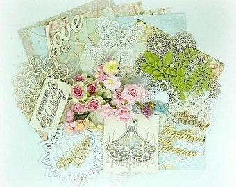 Wedding scrapbook kit , love scrapbook kit , vintage style scrapbook kit , cardmaking kit , scrapbook supplies , pink roses , lace kit , 6x6