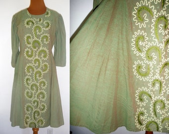 EMBROIDERED DRESS Women L Large Vintage 90s Green Cotton 3/4 Sleeve Boho Hippie Festival