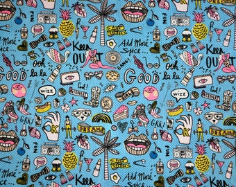 Fabric - Rico - Graffiti print on blue - woven cotton