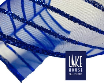90' Roll Sheer Blue Wired Ribbon. Royal Blue Wide Sheer Ribbon 90 feet. Wide Blue Ribbon SALE CLEARANCE
