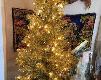3 1/2' prelit gold tinsel tree gold christmas tree retro christmas decor