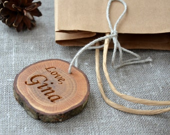 Personalized Wood Slice Gift Tag for Valentines Day Wedding Favor or Birthday Party Holiday Oak Gift Tag Rustic Wedding Gift Tag Engraved