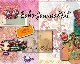 Boho Journal Kit INSTANT DOWNLOAD digital paper pack mini book Bohemian printable decoupage Scrapbooking