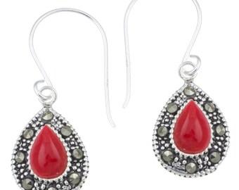Silver earrings drop 12 mm coral Silberrrand 925 sterling silver glitter earrings (No. OMS-359)