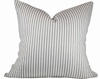 Ticking Stripe Pillow Cover - Premier Prints Classic Black Pillow Covers - Made to Order in Over 20 Sizes with Invisible Zipper