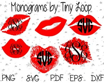 Monogram Lip Kisses File for Cutting Machine Instant Download