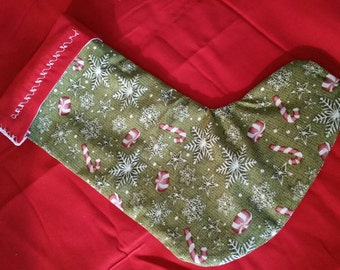 Christmas stocking with embroidery and lining
