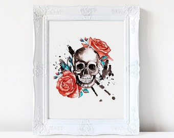 Sugar Skull watercolor print, Tattoo art. Whimsical Skull, Sugar Skull Poster, Skull art, Day of the dead, Dia de los muertos