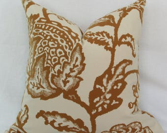 Tan ivory floral reversible pillow cover 18x18 20x20 22x22 24x24 26x26 28x28 Euro sham Lumbar pillow 12x24 16x24 16x26 Robert Allen pillow