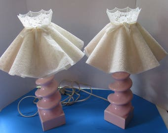 Pair Boudoir Lamps Pink Ceramic Lamps Mid Century Lamps Vintage Lighting Bedroom Decor Lacy White Shades Ladies Bedroom Nightstand Lamps
