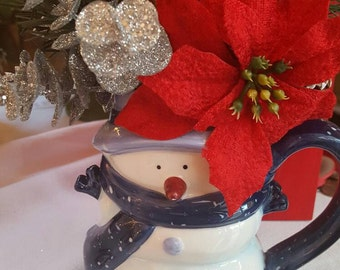 Christmas Flower Arrangement, Christmas Flowers, Christmas Decor, Holiday Flowers, Fake Flowers, Christmas Floral,