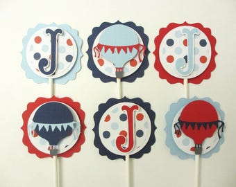 Hot Air Balloon Cupcake Cake Toppers Birthday Party Shower Set of 12 Navy Blue Red